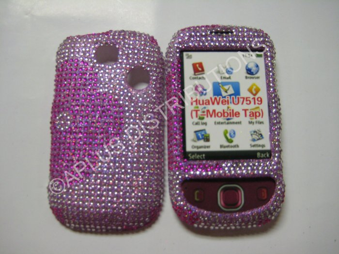New Pink Half Flower Design Bling Diamond Case For T-Mobile Tap - (0002)