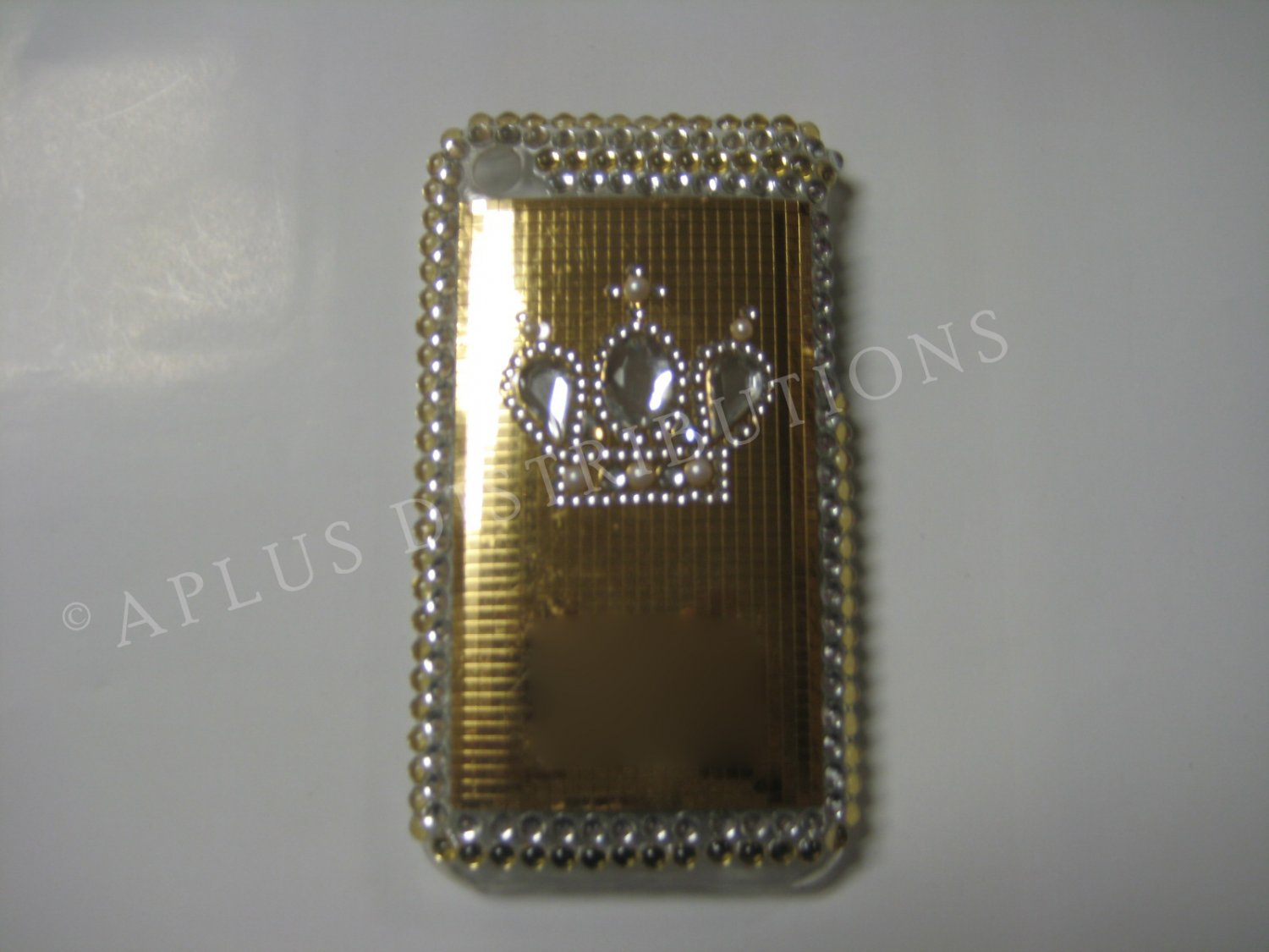 New Gold Crown On Squares Design Crystal Bling Diamond Case For iPhone 3G 3Gs - (0112)