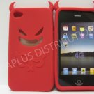 New Red Devil Design Silicone Cover For iPhone 4 - (0183)