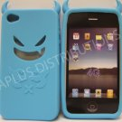 New Sky Blue Devil Design Silicone Cover For iPhone 4 - (0090)