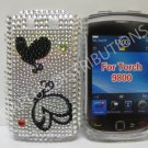 New Black Double Butterfly Design Crystal Bling Diamond Case For Blackberry 9800 - (0146)