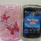 New Pink Butterfly Series Open Bling Diamond Case For Blackberry 9800 - (0139)