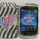 New Black Love Heart Bling Diamond Case For Blackberry 9800 - (0156)