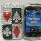 New Red Cards Design Bling Diamond Case For Blackberry 9800 - (0149)
