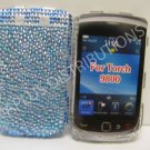 New Blue Zebra Design Bling Diamond Case For Blackberry 9800 - (0134)