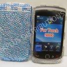 New Blue Zebra Design Bling Diamond Case For Blackberry 9800 - (0134)