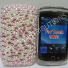 New Pink Multi Bling w/Pearls Crystal Diamond Case For Blackberry 9800 - (0153)