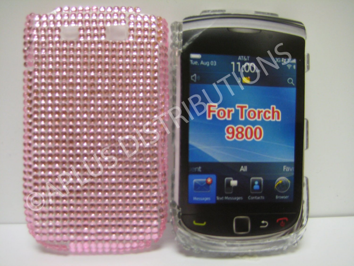 New Pink Solid Crystal Bling Diamond Case For Blackberry 9800 - (0100)