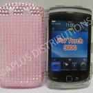 New Pink Transparent Pearls Bling Diamond Case For Blackberry 9800 - (0155)