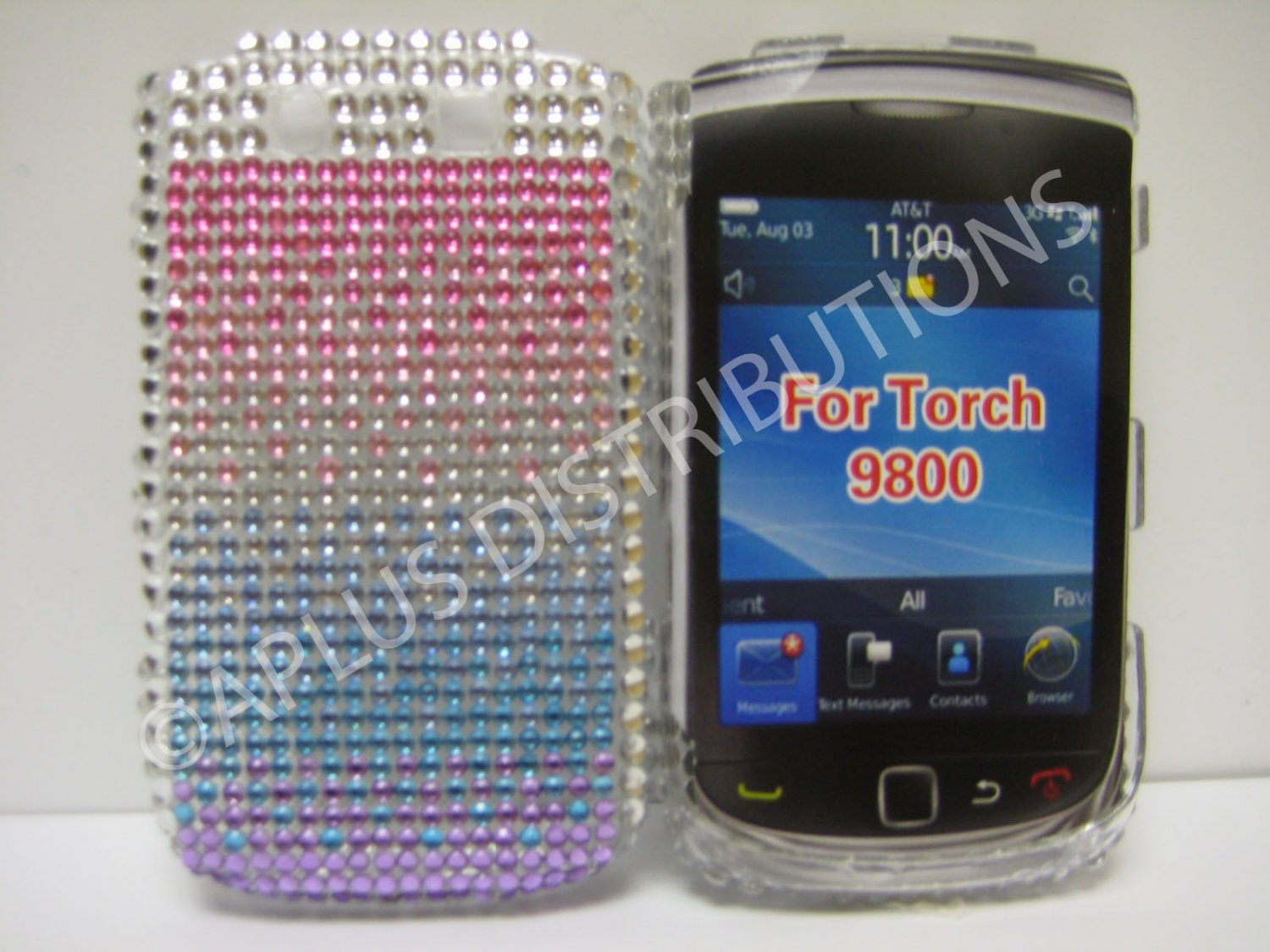 New Shades Of Pink N Purple Crystal Bling Diamond Case For Blackberry 9800 - (0010)