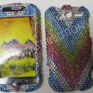 New Multi-Color Rainbow Strips Bling Diamond Case For HTC My Touch 4G - (0027)