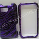 New Purple Metallic Zebra Design Hard Protective Cover For Motorola Defy MB525 - (0046)