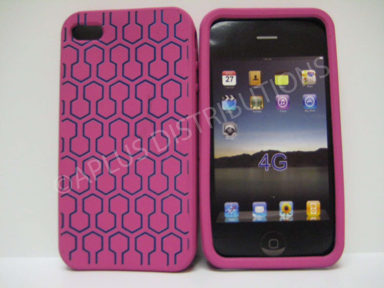 New Pink Honey Comb Pattern Silicone Cover For iPhone 4 - (0103)