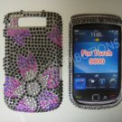 New Black Flower Image Bling Diamond Case For Blackberry 9800 - (0116)