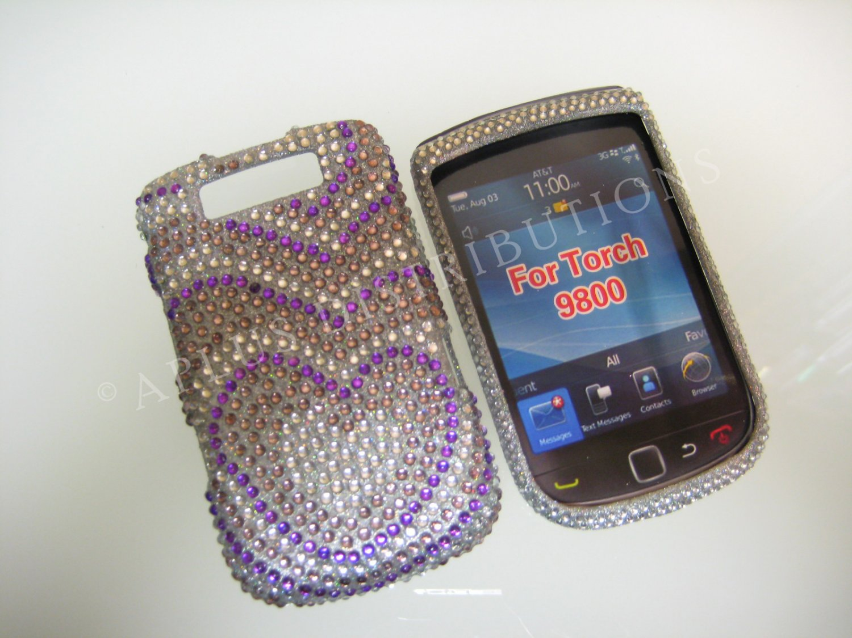 New Purple Growing Heart Bling Diamond Case For Blackberry 9800 - (0117)