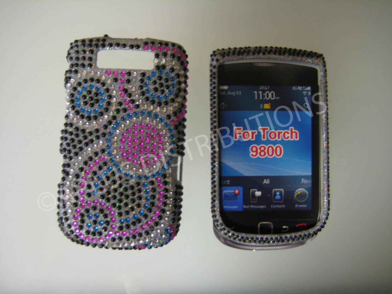 New Black Groovy Circles Bling Diamond Case For Blackberry 9800 - (0157)