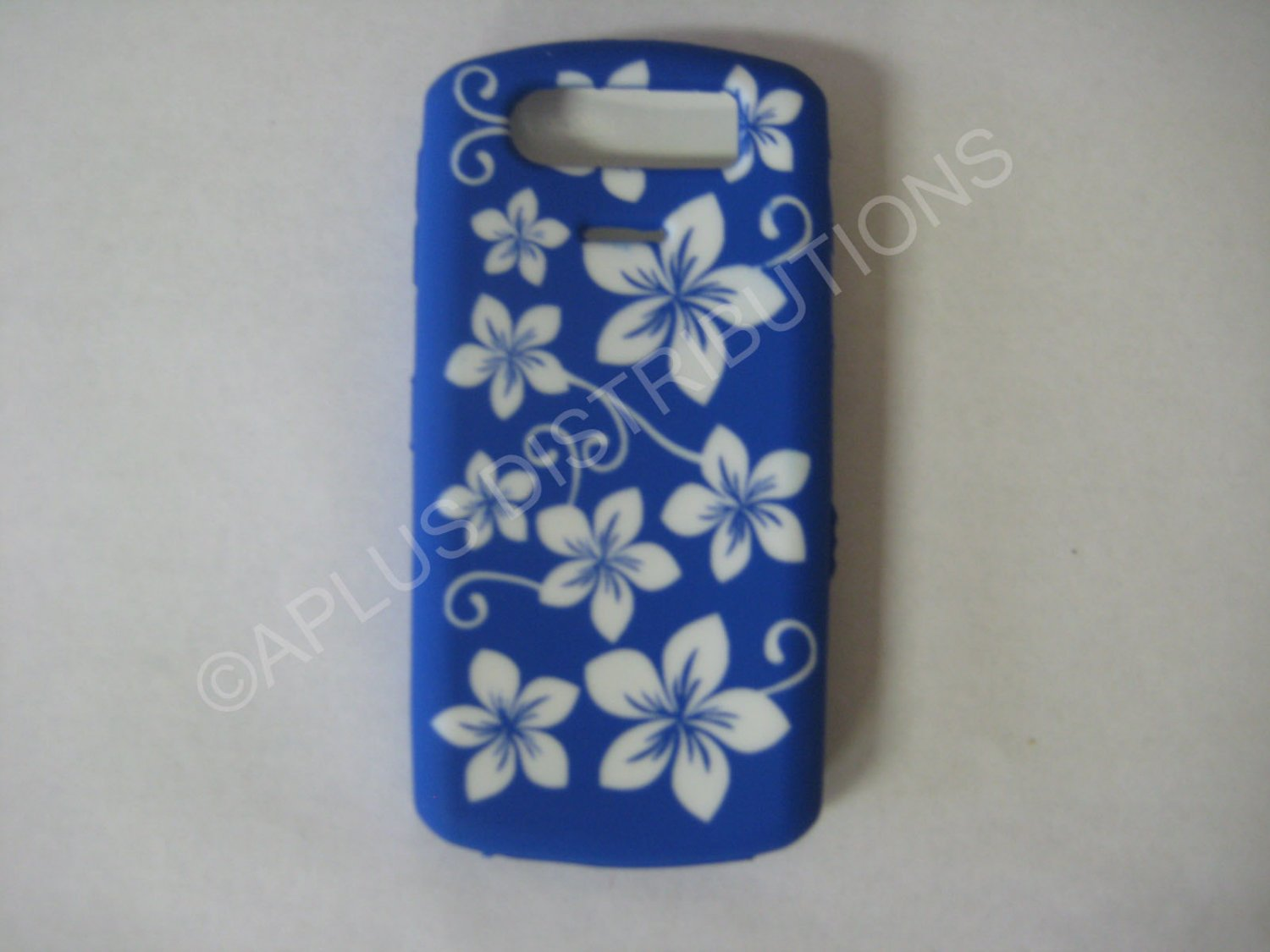 New Dark Blue Hawaiian Print Flower Silicone Cover For Blackberry 8120/8110/8130 - (0197)