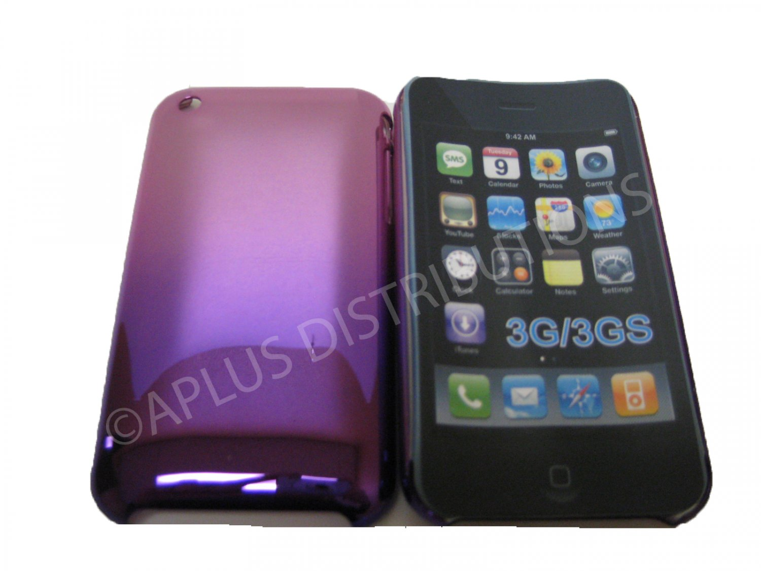 New Purple Metallic Reflection Design Hard Protective Cover For iPhone 3G 3GS - (0092)