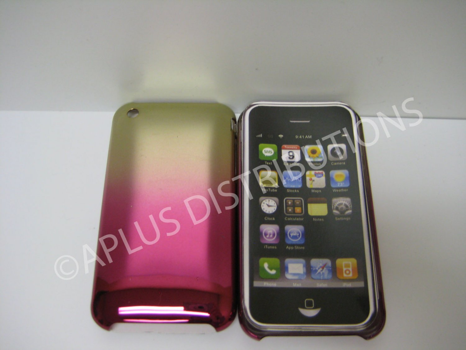 New Pink Metallic Reflection Design Hard Protective Cover For iPhone 3G 3GS - (0090)