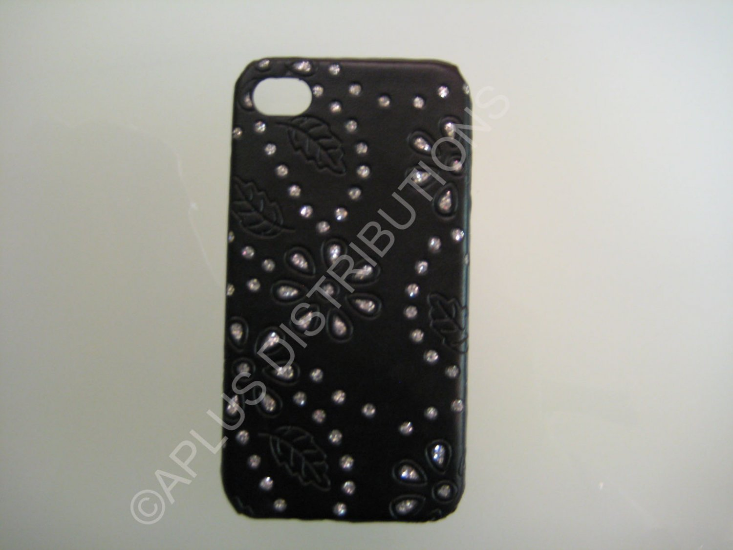 New Black Flower Vine Glitter Pattern Hard Protective Cover For iPhone 4 - (0046)