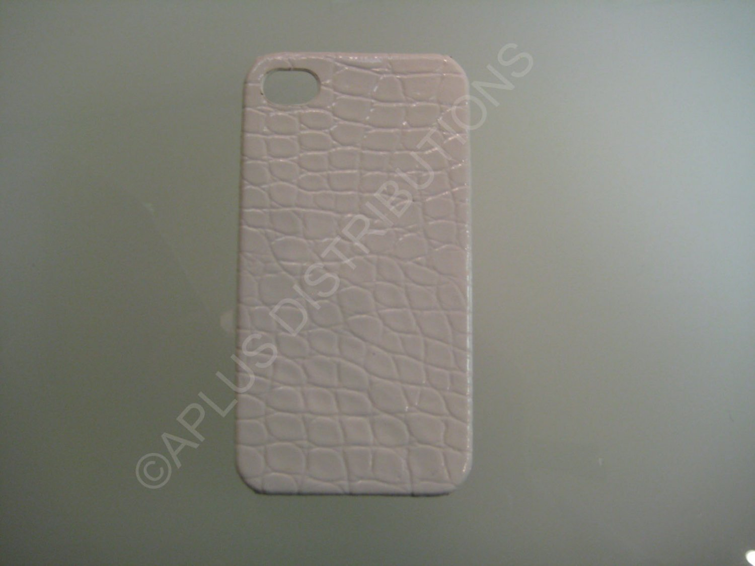 New White Alligator Skin Pattern Hard Protective Cover For iPhone 4 - (0048)