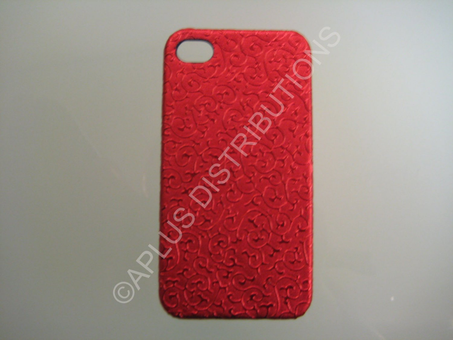 New Red Ornate Vines Design Hard Protective Cover For iPhone 4 - (0086)
