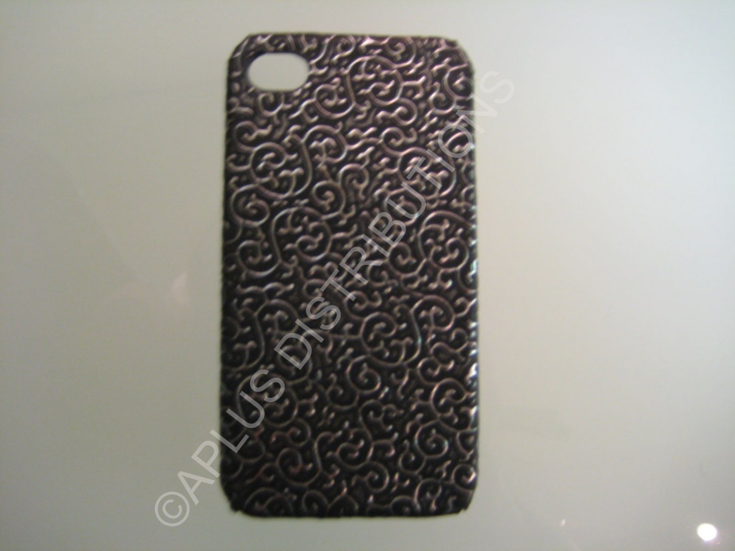 New Black Ornate Vines Design Hard Protective Cover For iPhone 4 - (0085)