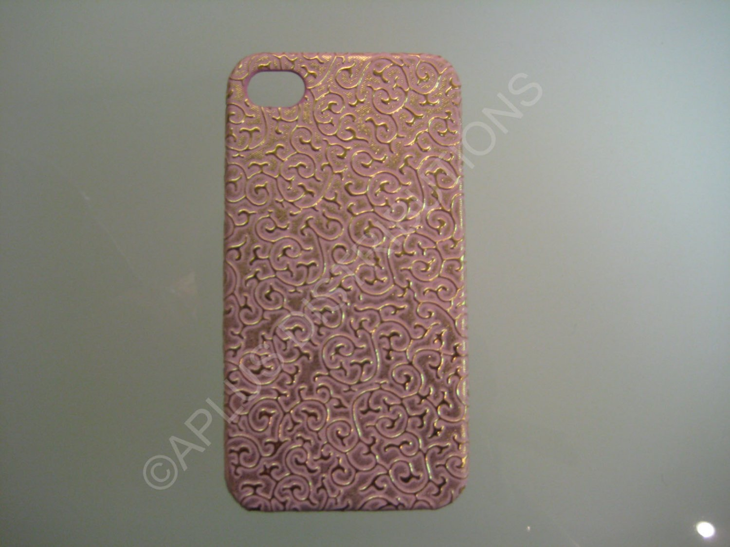New Pink Ornate Vines Design Hard Protective Cover For iPhone 4 - (0088)