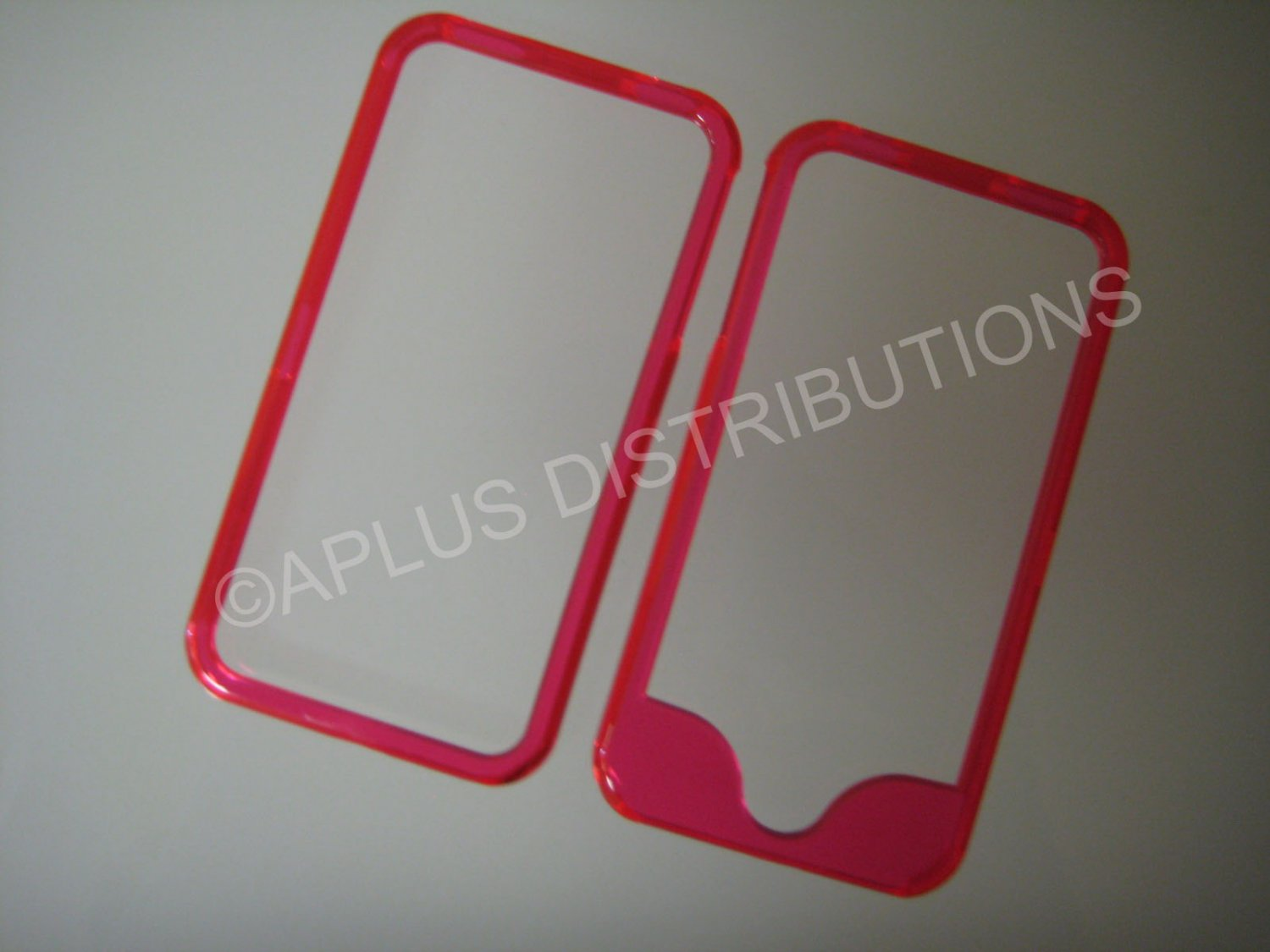 New Hot Pink Bumper Design Hard Protective Cover For iPhone 4 - (0142)