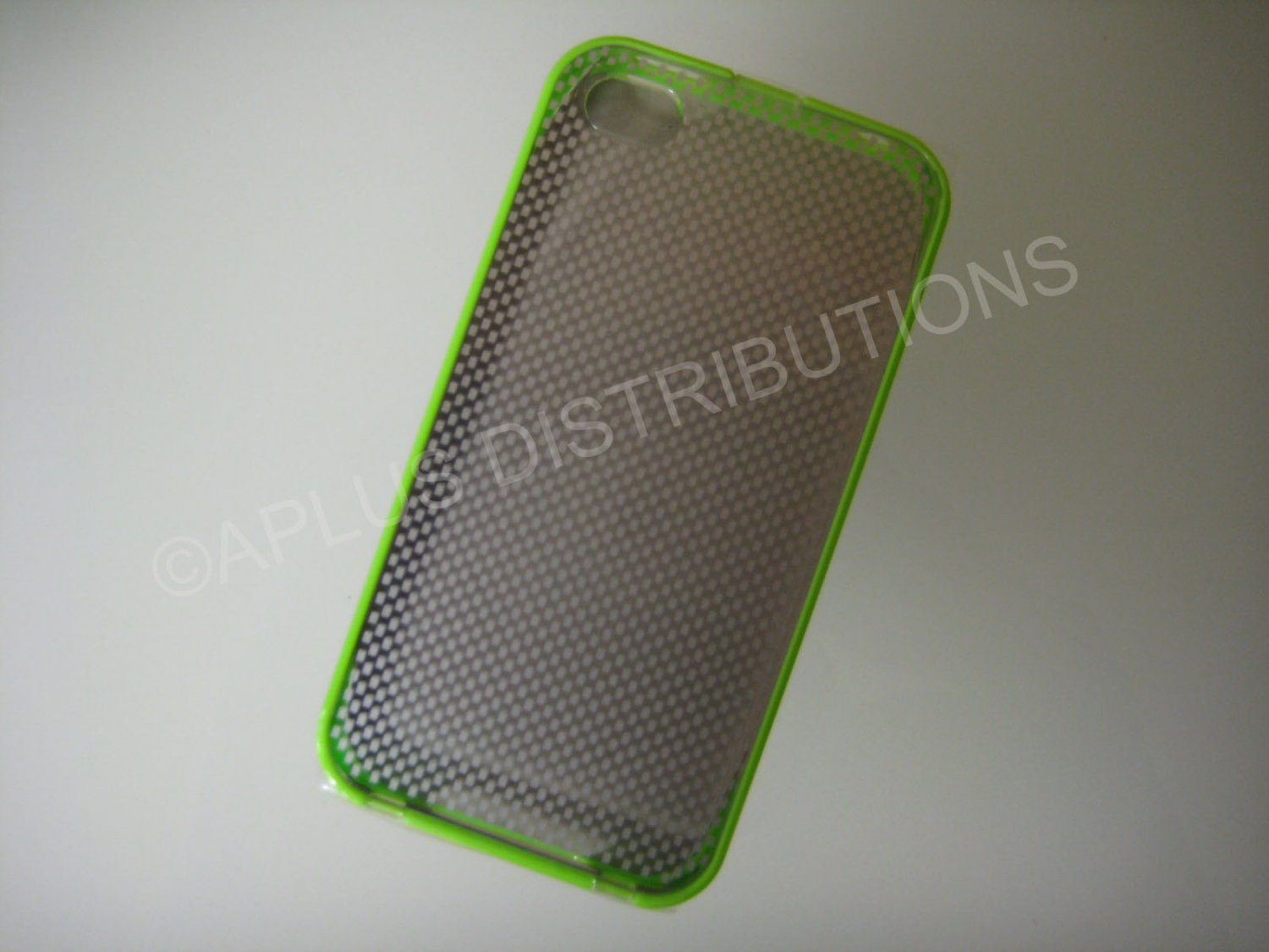 New Green Transparent Checkered Pattern Hard Protective Cover For iPhone 4 - (0150)