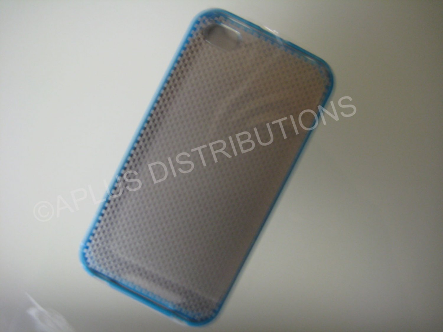 New Blue Transparent Checkered Pattern Hard Protective Cover For iPhone 4 - (0149)