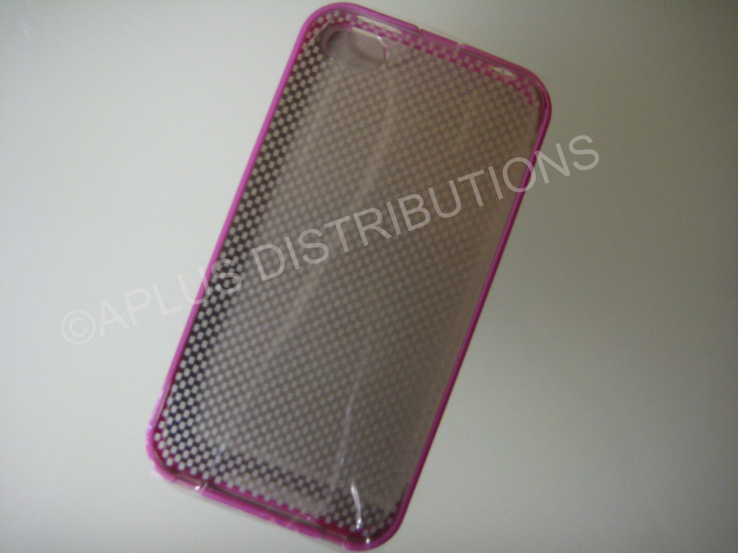 New Pink Transparent Checkered Pattern Hard Protective Cover For iPhone 4 - (0148)