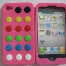 New Pink Colorful Beans Dots Design Silicone Cover For iPhone 4 - (0142)