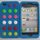 New Blue Colorful Beans Dots Design Silicone Cover For iPhone 4 - (0141)
