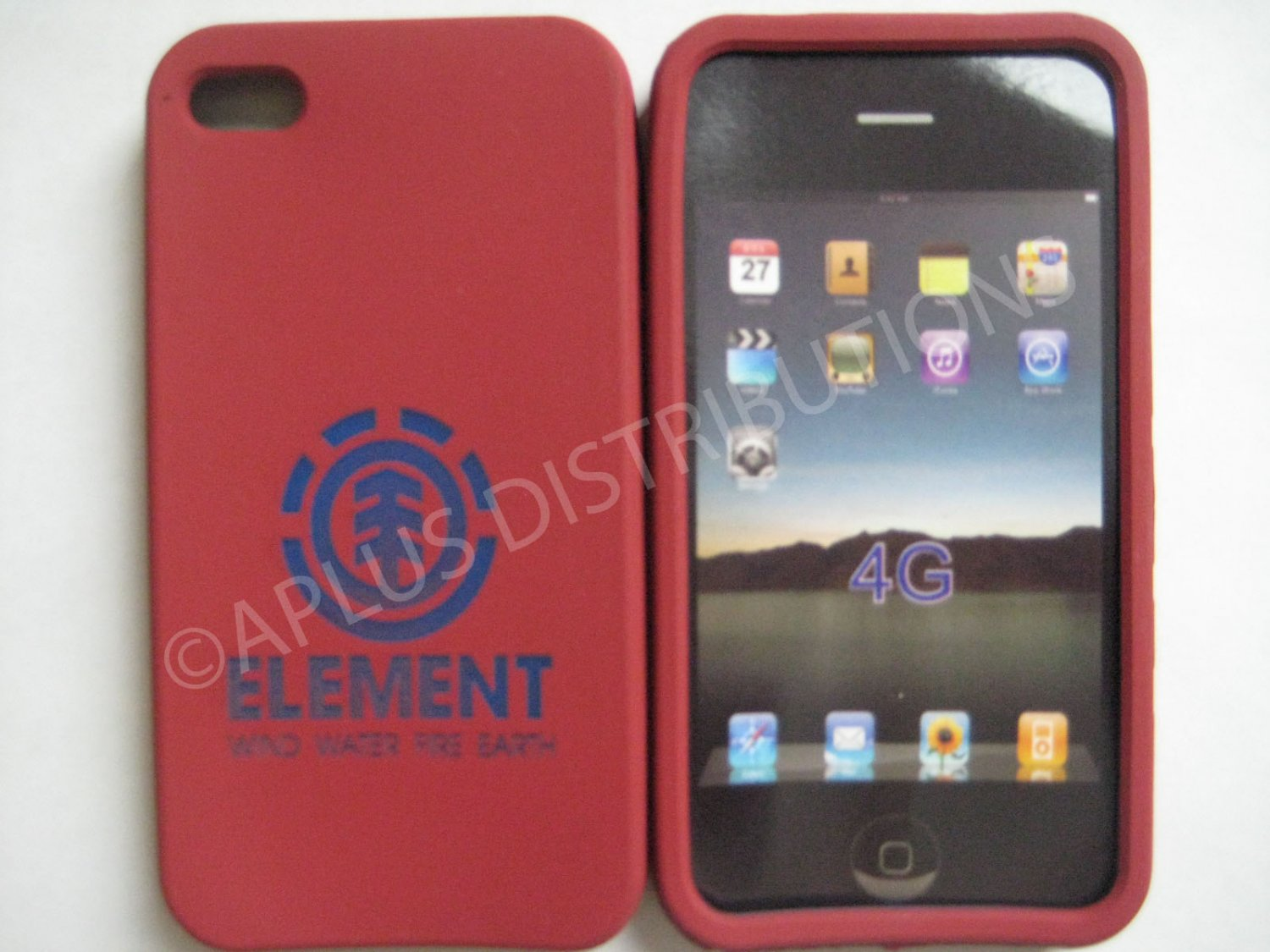 New Purple Element Print Pattern Silicone Cover For iPhone 4 - (0124)