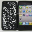 New Black Laser Cut Swirlz Design Silicone Cover For iPhone 4 - (0107)