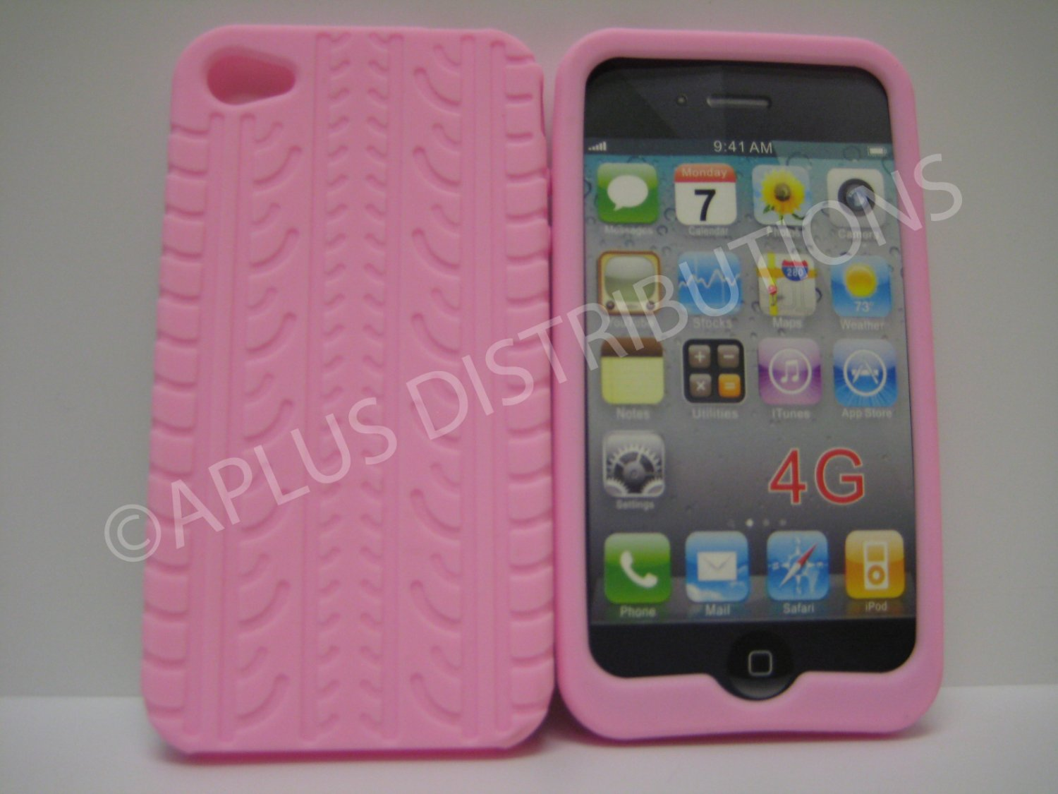 New Pink Tire Print Pattern Silicone Cover For iPhone 4 - (0011)