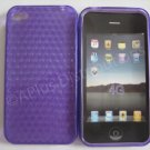 New Purple Diamond Cut Pattern TPU Cover For iPhone 4 - (0014)