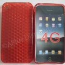 New Red Diamond Cut Pattern TPU Cover For iPhone 4 - (0013)