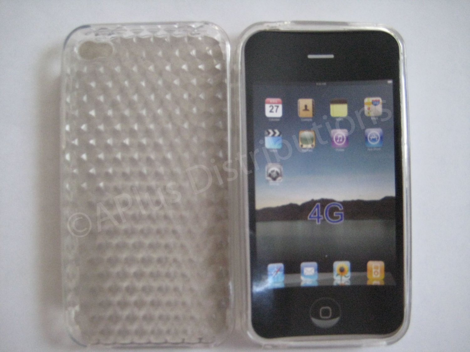 New Clear Diamond Cut Pattern TPU Cover For iPhone 4 - (0016)