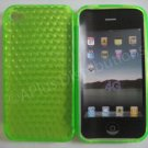 New Lime Green Diamond Cut Pattern TPU Cover For iPhone 4 - (0074)