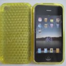 New Yellow Diamond Cut Pattern TPU Cover For iPhone 4 - (0075)