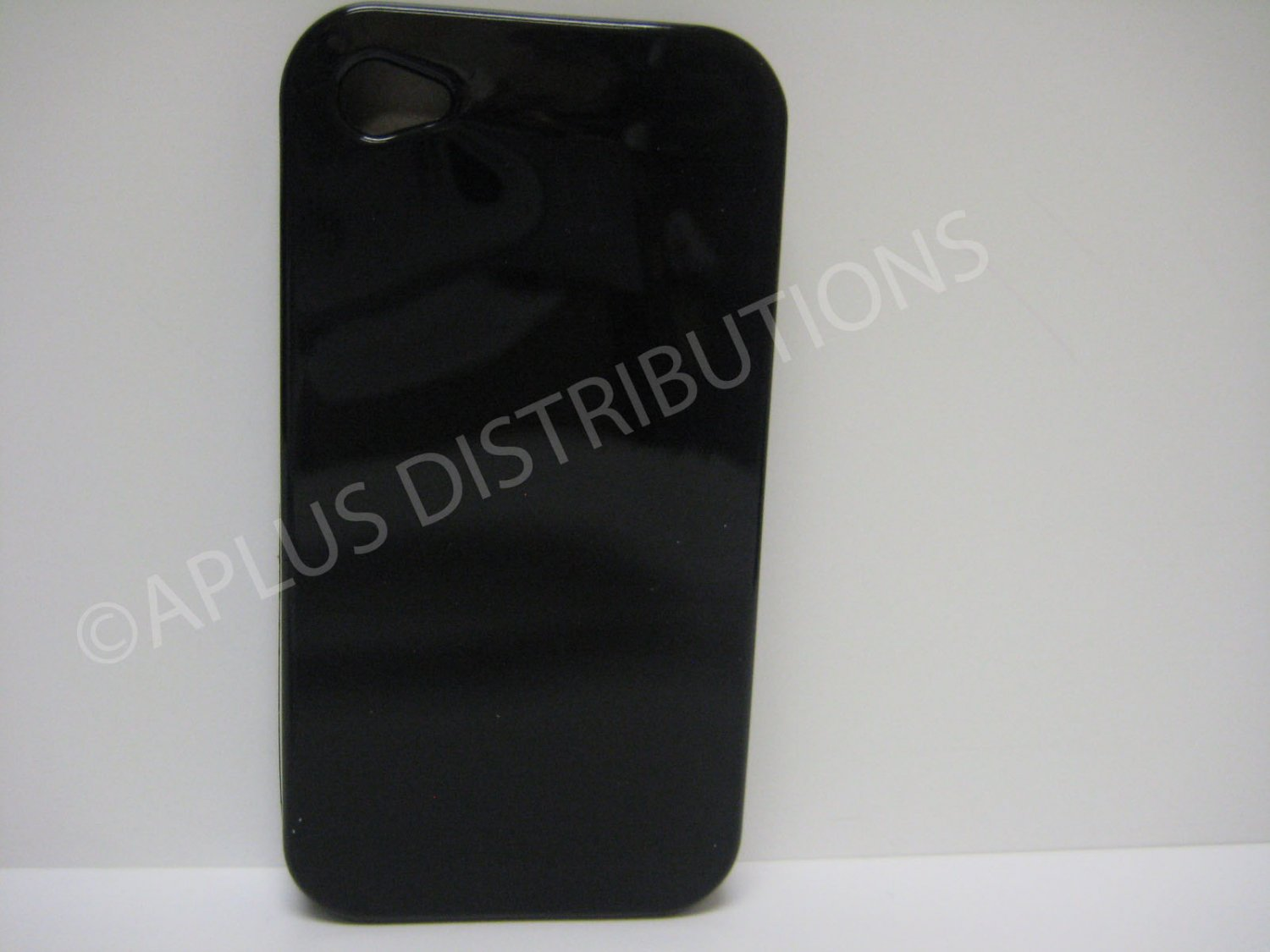 New Black Solid Color Design TPU Cover For iPhone 4 - (0133)