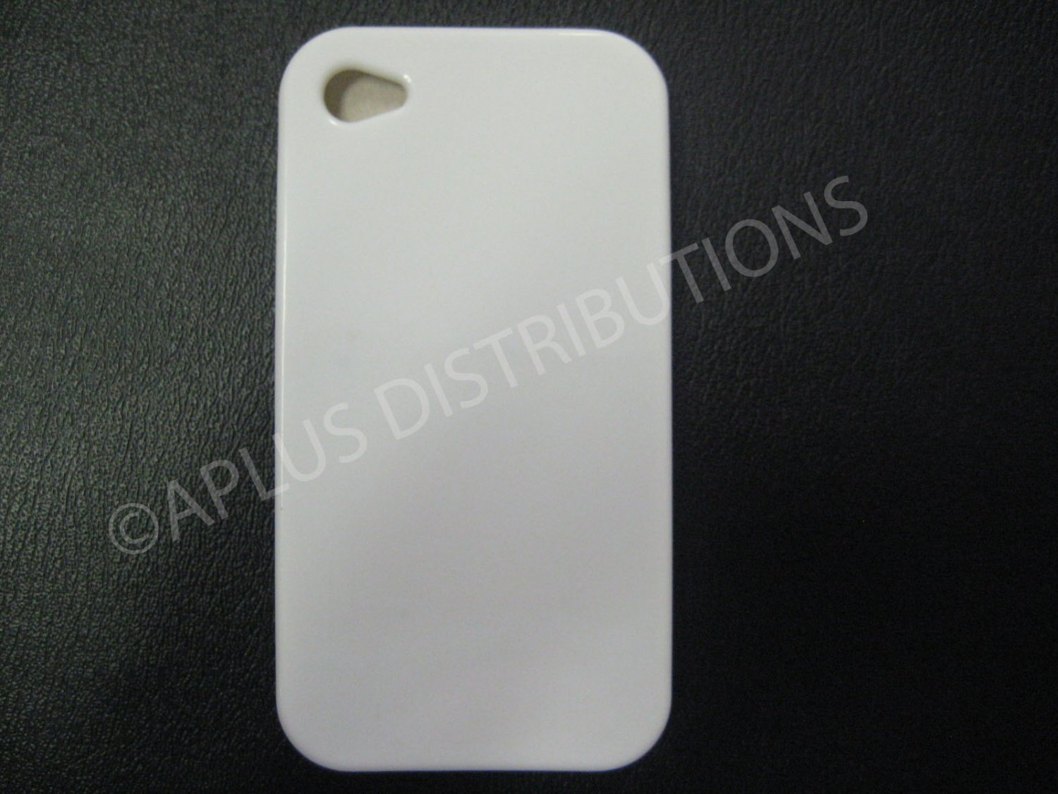 New White Solid Color Design TPU Cover For iPhone 4 - (0134)