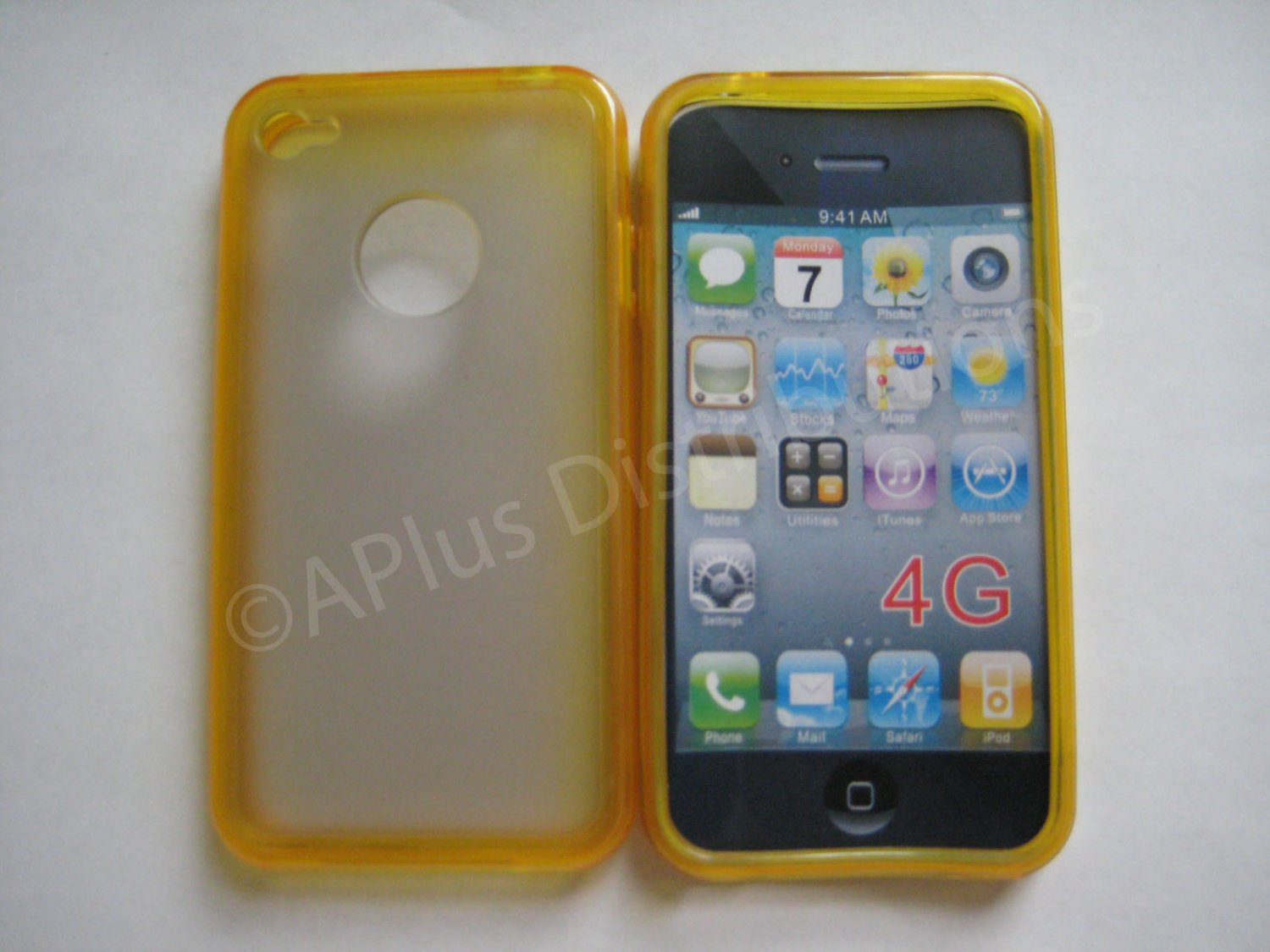 New Yellow Tpu/Soft Combo Design TPU Cover For iPhone 4 - (0057)