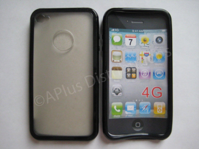 New Black Tpu/Soft Combo Design TPU Cover For iPhone 4 - (0059)