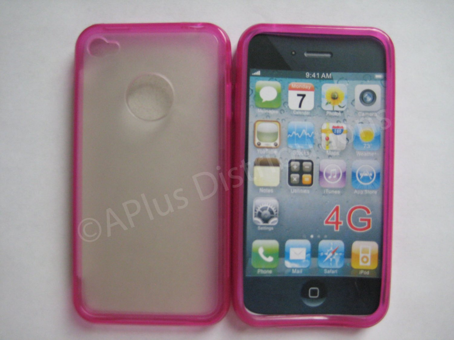 New Hot Pink Tpu/Soft Combo Design TPU Cover For iPhone 4 - (0060)