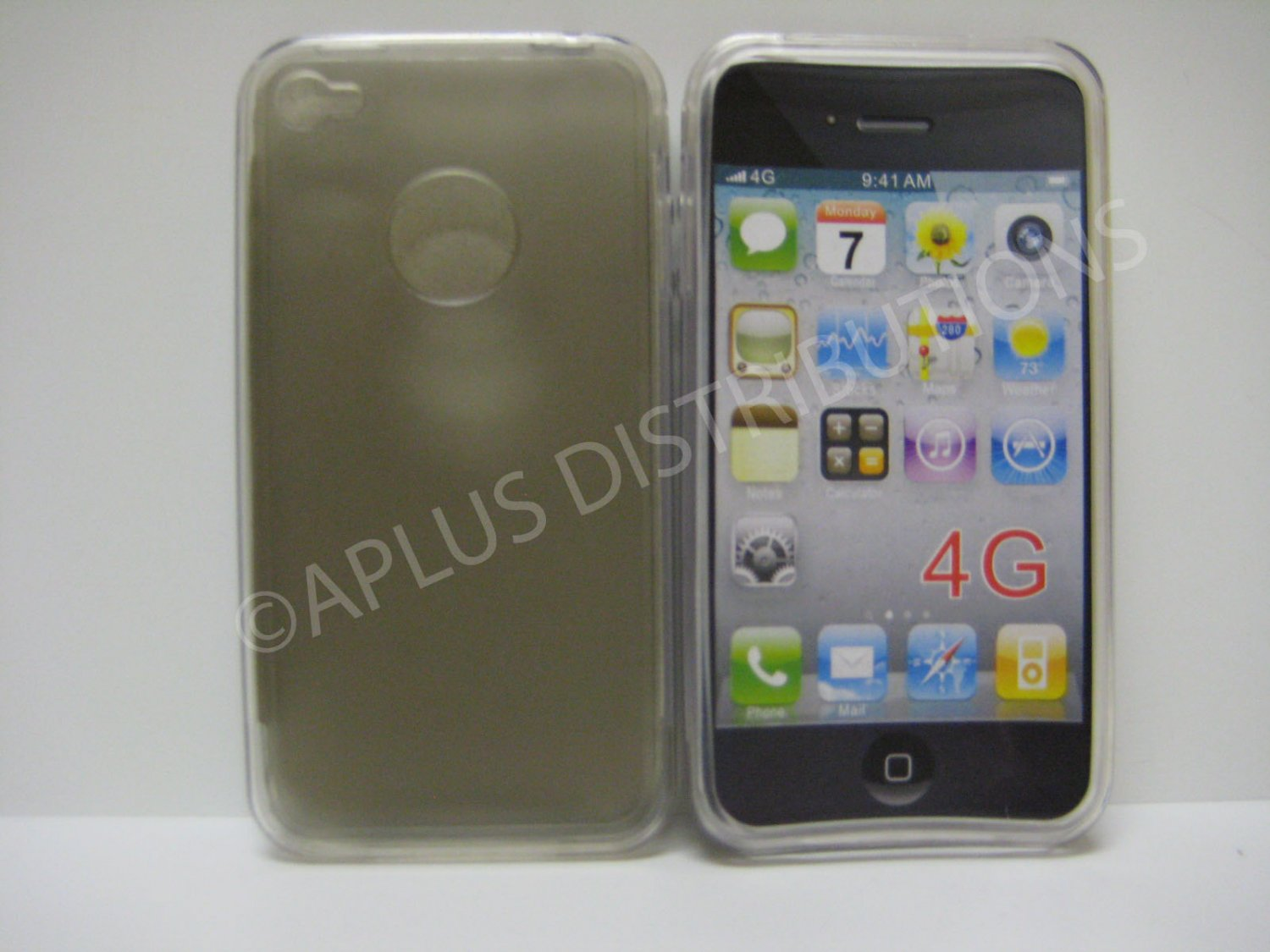 New Smoke Tpu/Soft Combo Design TPU Cover For iPhone 4 - (0136)