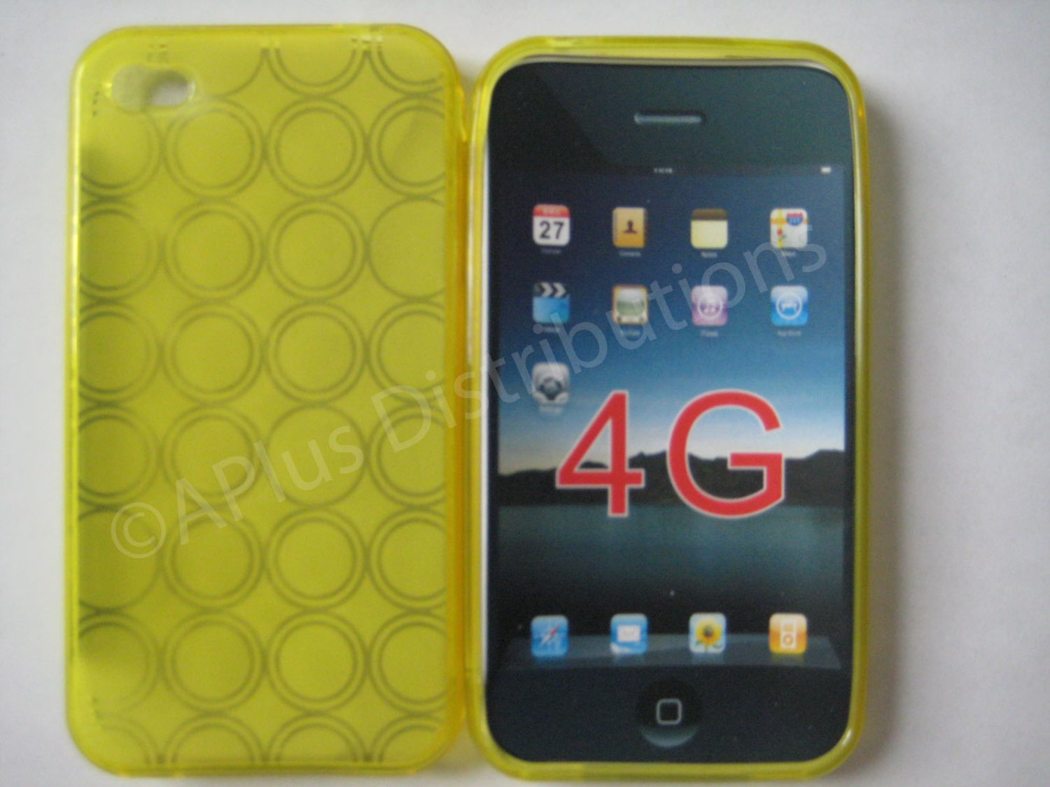 New Yellow Transparent Multi-Circles Design TPU Cover For iPhone 4 - (0041)