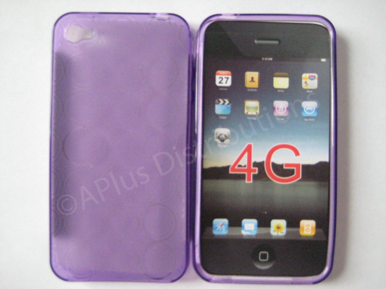 New Purple Transparent Multi-Circles Design TPU Cover For iPhone 4 - (0098)